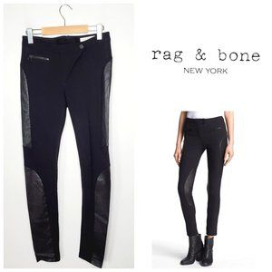 RAG & BONE Faux Leather Panel Black Skinny Pants